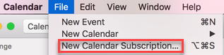 Menu for adding calendars