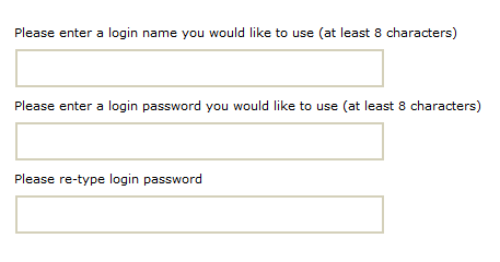Screen for creating login name and password