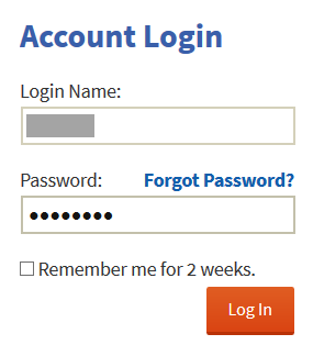 Screen for logging in