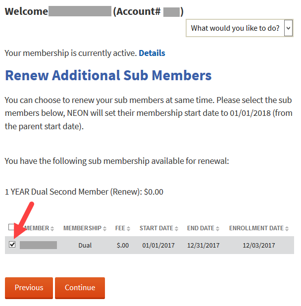 Dual memberships renewal screen